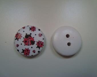 Diameter white round button 18 mm - 2 holes - sewing - knitting - Scrapbooking Ladybug motif