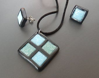 Square blue and green mosaic ornament