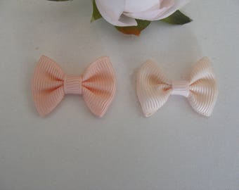 Set of 2 ivory and apricot bowties powder 3 * 2 cm