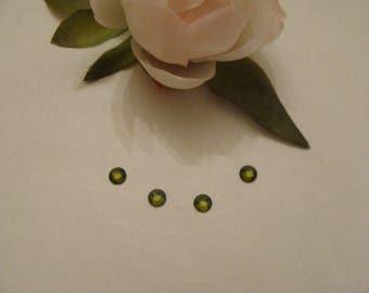 Set of 4 olive green Swarovski Crystal faceted rhinestones
