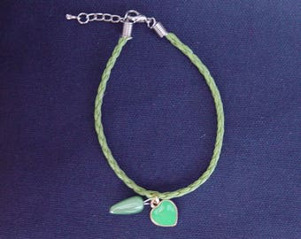 Green leatherette braided cord bracelet