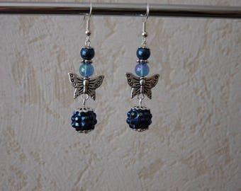 Night blue butterfly earrings