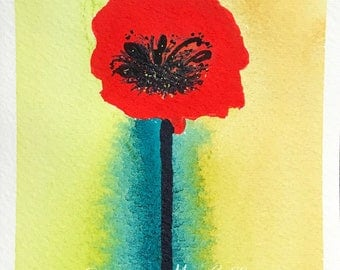 Poppies No. 021 - Original Watercolor Painting, Floral, Art, Wall Decor
