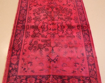 """Vintage Overdyed Turkish Rug, Handmade, Fuschia, 4 feet 2 inches by 6 feet 6 inches (4'2""""x6'6"""")"""