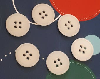 6 old vintage white 17 mm 4 hole buttons