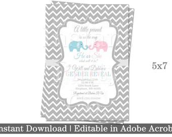 Gender Reveal baby shower invitations | Elephant Baby shower invitations | Elephant Gender Reveal invitations