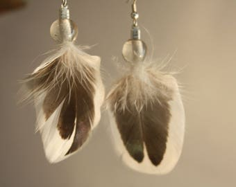 natural feather earrings and glass bead