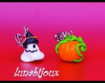polymer clay earring clips child ghost & pumpkin halloween