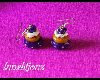 polymer clay earring cupcake purple gift anniversary