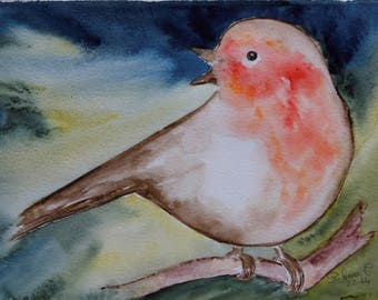 Original watercolor painting of a bird on a branch - original painting of a Robin - minimalist painting, birthday gifts