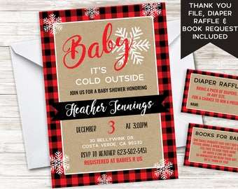 Christmas Baby Shower Invitation Invite Red Plaid Snowflakes Baby It's Cold Outside Sprinkle Digital 5x7 Winter