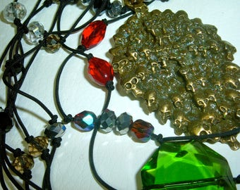 Long necklace go to heaven necklace pearls green Emerald Red Ruby iridescent Crystal diamond on Black Lace