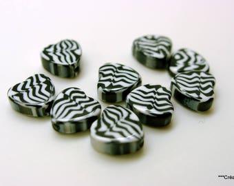 Set of 12 beads Zebra 13 mm