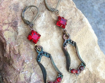 the earrings antique Ruby Red Czech glass