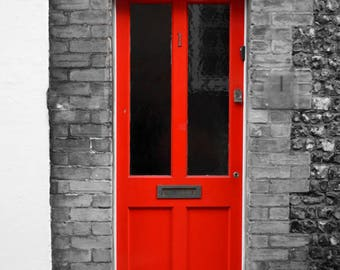 Red door Photographic Art print, selective colour