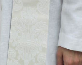 White Damask Tapered Clergy Priest Pastor Stole with Velvet Orphey