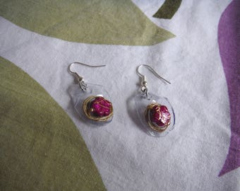 Fuchsia plastic earrings rose gold mod4/earrings