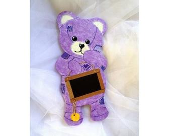 "Teddy plum Line ""name"" personalized door plate"