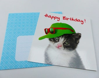 birthday card cat with Hat card square with envelope