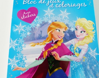 block sets and coloring with stickers snow Queen