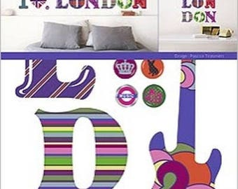 "WALL STICKERS HOME DECO, ""I LOVE LONDON"" 2 BOARDS DECALS"