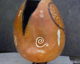 """Dreamcatcher """"Heammawihio"""" hand painted gourd"""