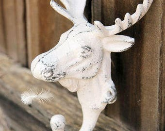 ON SALE Metal Moose Hook/Rustic Farmhouse Wall Decor Home Decor Ideas/Cabin Decor/Shabby Chic Coat Hooks/Country Charm Country
