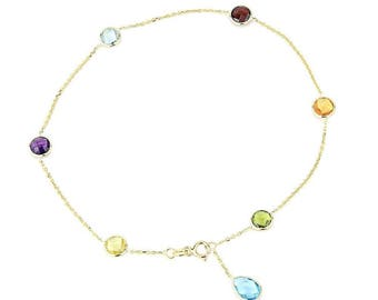 14K Yellow Gold Gemstone Anklet Bracelet With A Blue Topaz Drop 9 -11 Inches