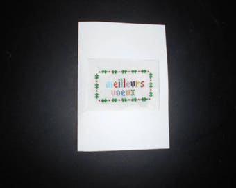 Embroidered on canvas handmade greeting card