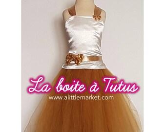 3 4 5 ☆ ☆ Princess tutu dress girl ☆ skirt ivory satin strapless tulle gold wedding ceremony