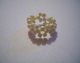 Handmade White Pearl beads ring