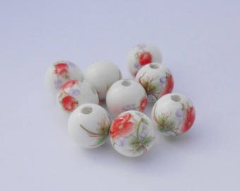 Pearl ceramic red 12 mm flower pattern