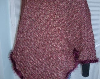 Hand knitted wool poncho - rust color