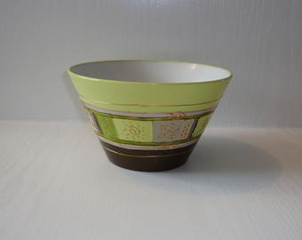 medium size Bowl in gray, green and black hand painted porcelain