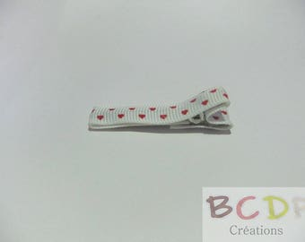 white pattern red heart brooch