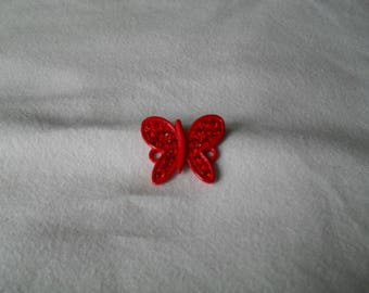 metal Butterfly connector painted red with Rhinestones 20 x 20
