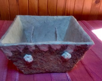 cardboard basket handmade with handle