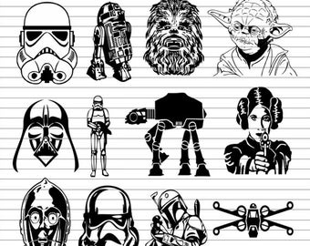 Star Wars SVG, Chewbacca SVG, Yoda SVG, Princess Leia svg, Storm Trooper svg, Darth Vader, R2D2, Cutting Files, Clipart, Vector, eps, Pdf
