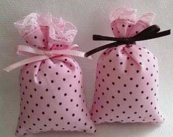 Mini bag for sweets or jewelry pink or blue polka dots
