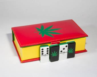 Cannabis Domino 100% Acrylic, Faux Leather Case