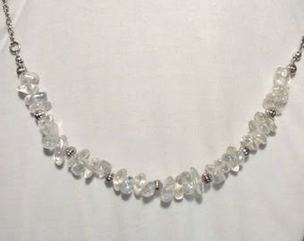 Rock Crystal chip and silver necklace