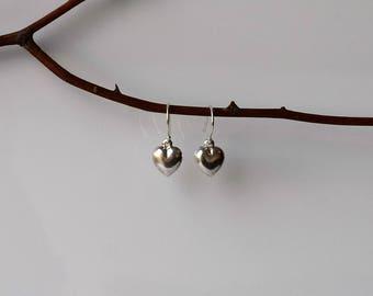 Silver Heart Earrings,Heart Drop Earrings, Heart Earrings, Sterling Silver Earrings, Dangle and Drop Earrings, Sterling Silver Drop Earrings