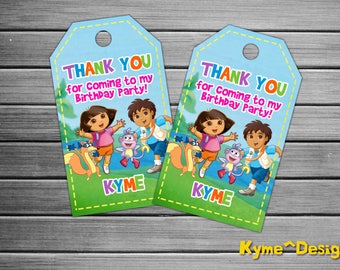 Dora The Explorer Thank You Tag, Dora the Explorer Birthday Tag, Dora The Explorer Printable Tag, Dora The Explorer Design Tag, Birthday Tag