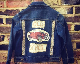 Boys Customized Denim Jacket Vintage Gap Blue Denim Hand Stitched with embroidery, patches and trinkets.