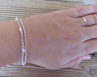 Bracelet 2 rangs argent massif 925 chaine perles swarovski transparent irisé