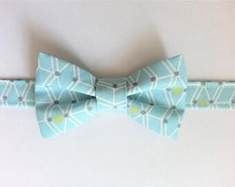 Bow tie for boy blue geometric pattern