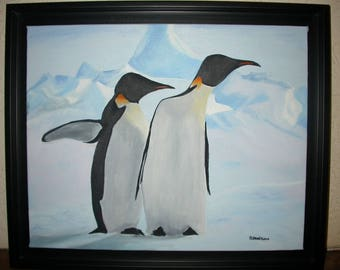 Oil painting framed penguins