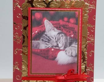 Adorable Sleeping Christmas Kitten Cat is Wrapped Up With Warmest Wishes Just For You- 6 x 4 Christmas Holiday Card - Blank Inside
