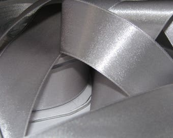 25 meters of silver 38 mm satin ribbon