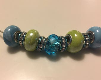 Blue and Green Pandora Style bead necklace